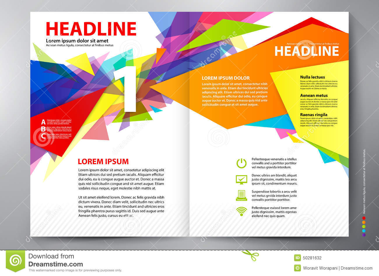 Brochure design a4 vector template cartoon vector for Two page brochure template