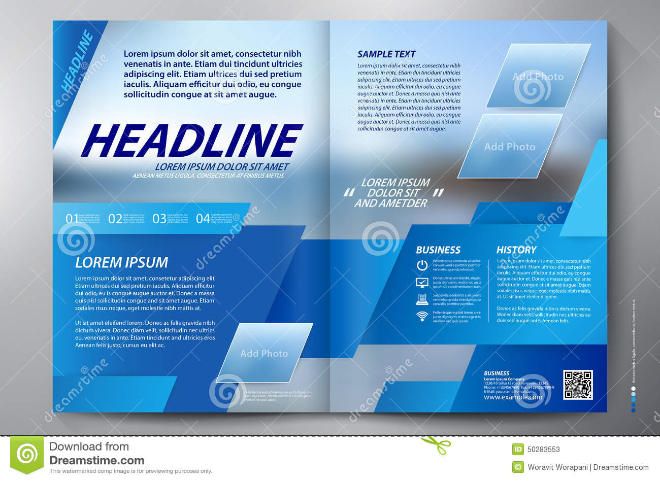 Brochure design two pages a4 vector template stock vector for Free brochure templates for pages
