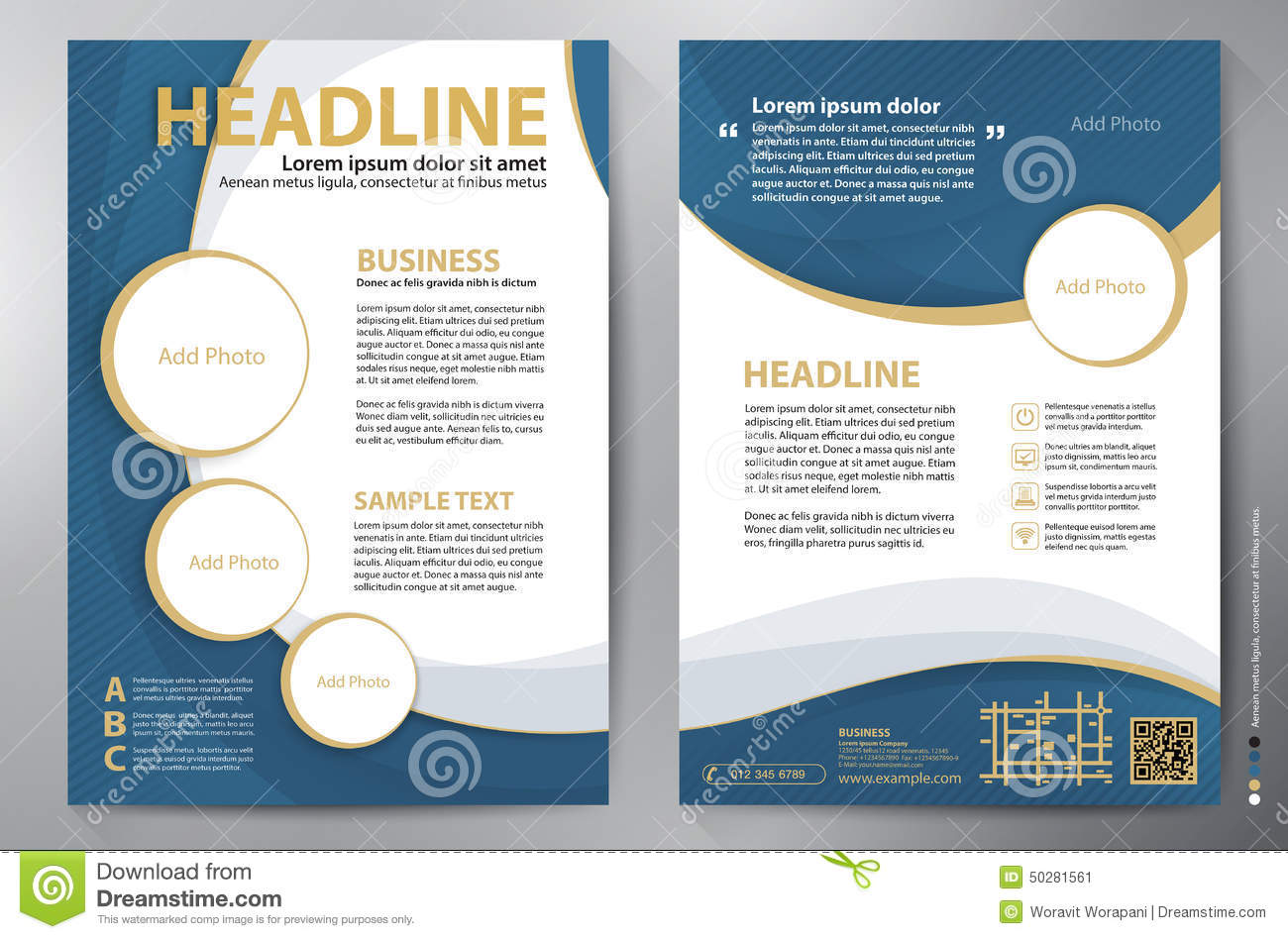 free brochure template downloads - brochure design a4 vector template stock vector