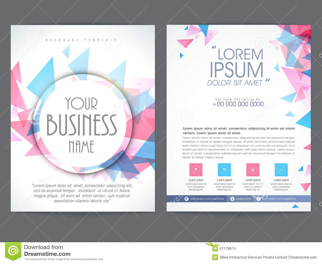 pages brochure template - brochure or flyer design for business stock illustration