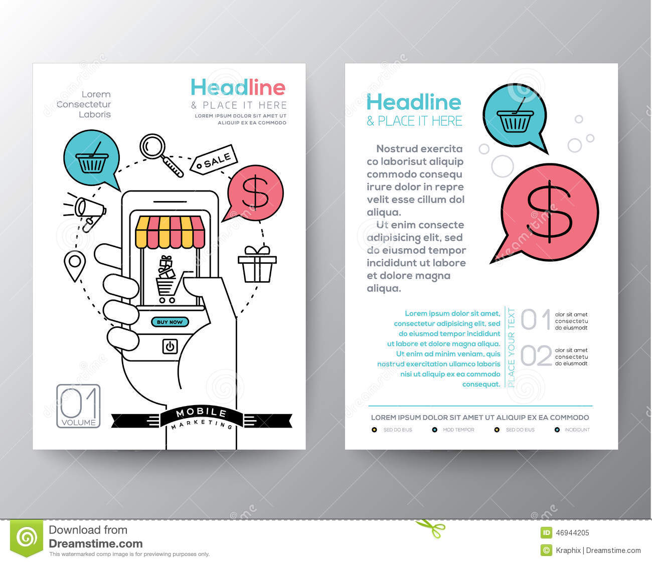 Brochure Flyer Design Layout Template With Digital Marketing Concept ...