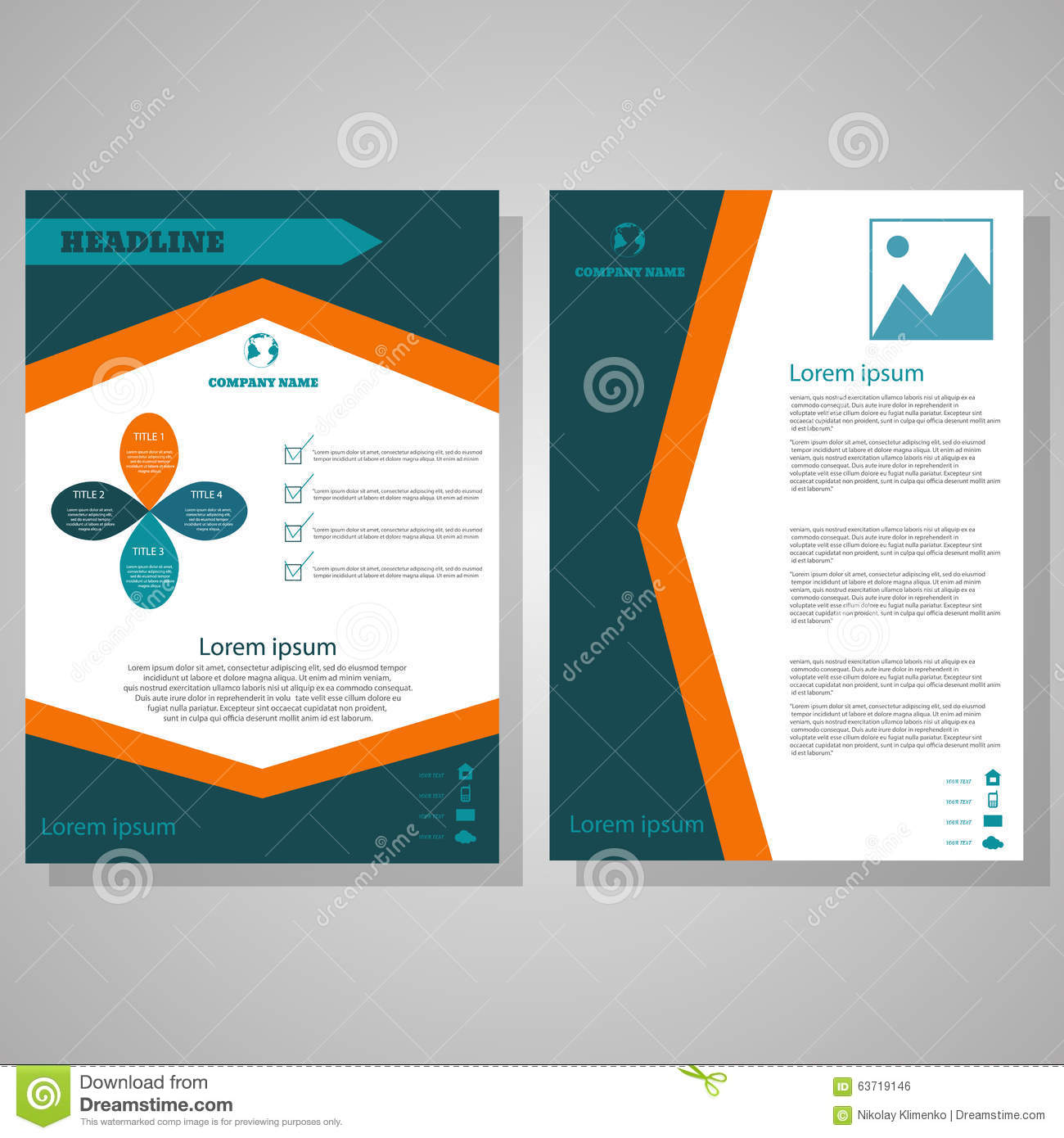 Brochure flyer design layout template size a4 stock for Brochure template size