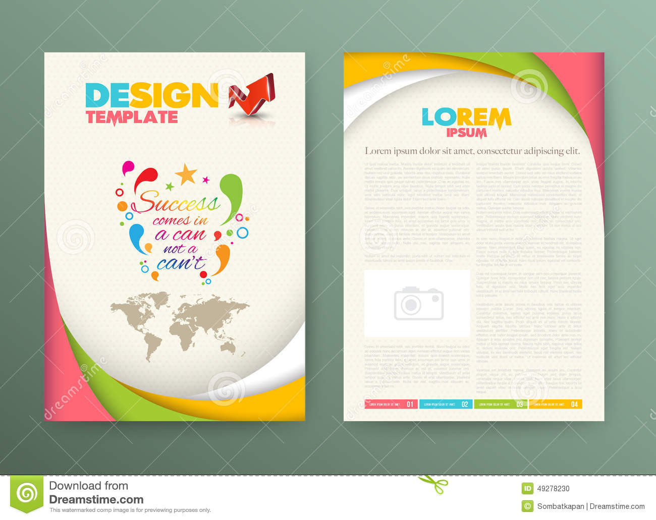 brochure flyer design layout template with success stock vector