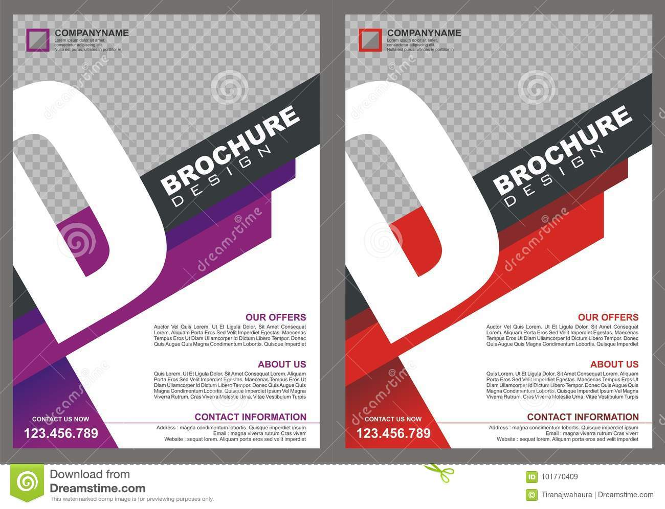 Brochure - Flyer with letter `D` logo style cover