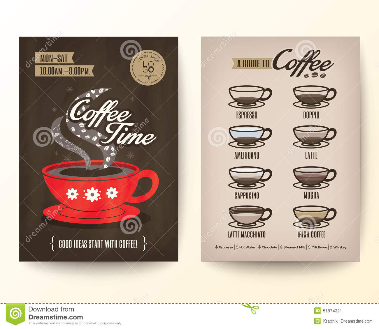Brochure flyer poster design template layout with type of coffee stock vector image 51874321 - Picture design samples ...