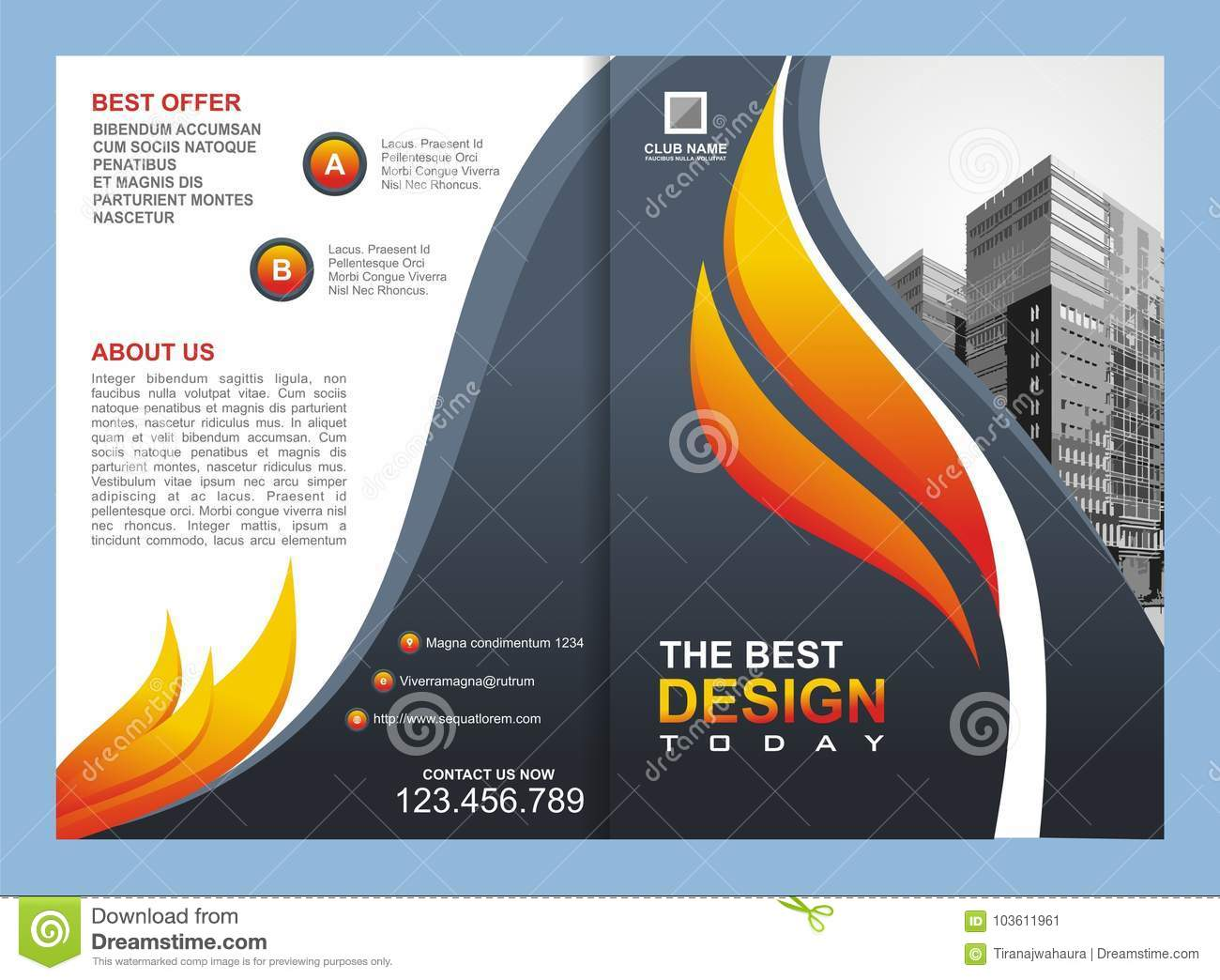 download brochure flyer template with fire design stock vector illustration of creative