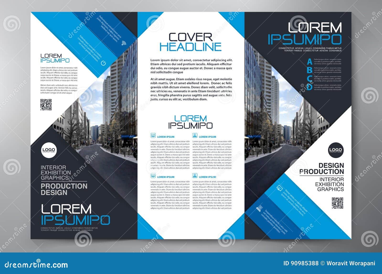 brochure 3 fold flyer design a4 template stock vector image 90985388. Black Bedroom Furniture Sets. Home Design Ideas