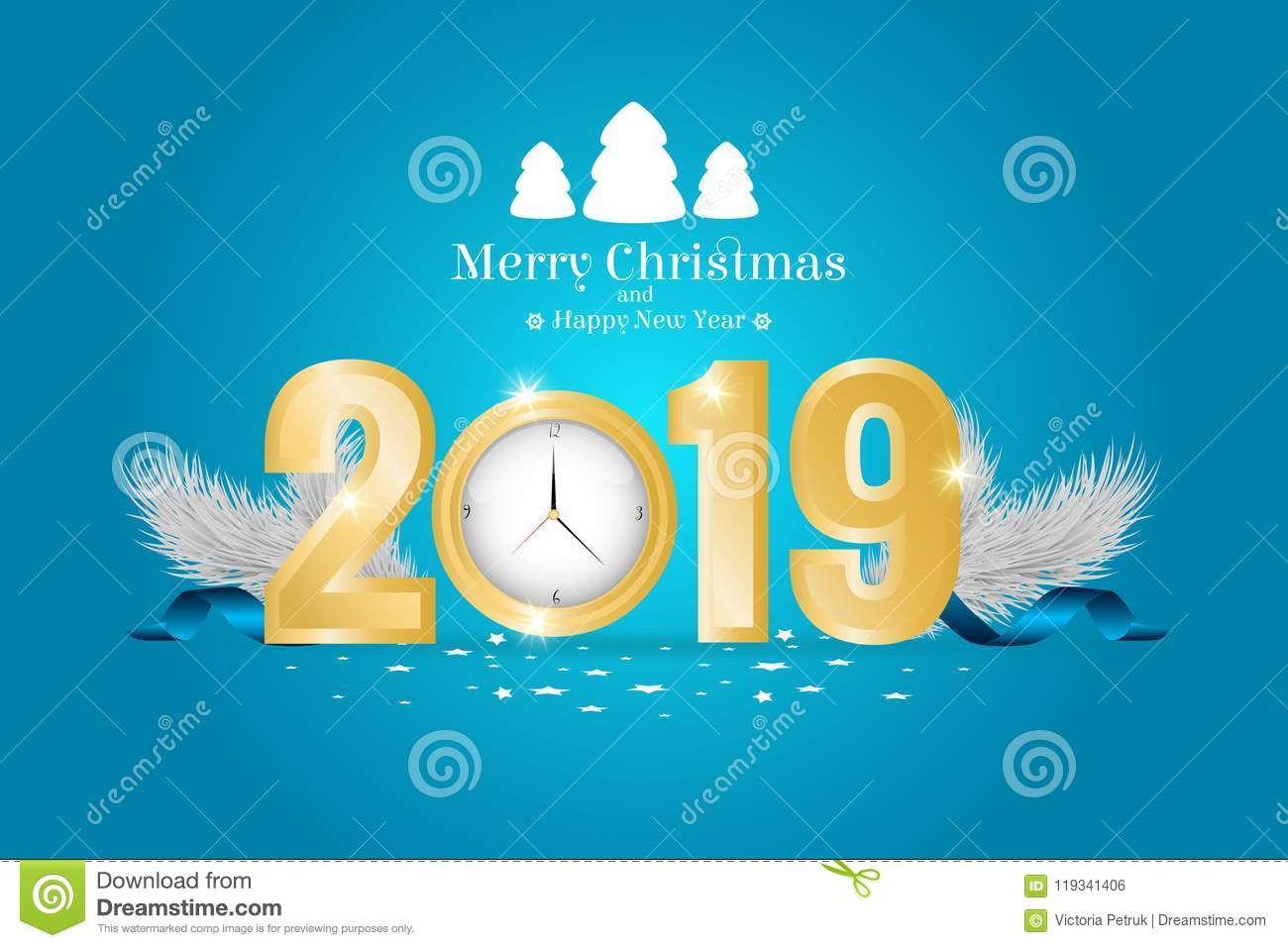brochure on merry christmas and happy new 2019 year theme stock