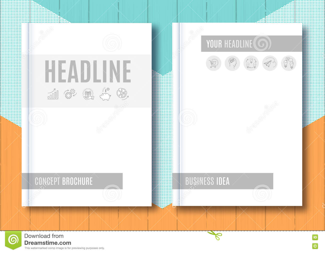 Brochure Mock-up Blank Magazine Cover Template Notebook Vector ...