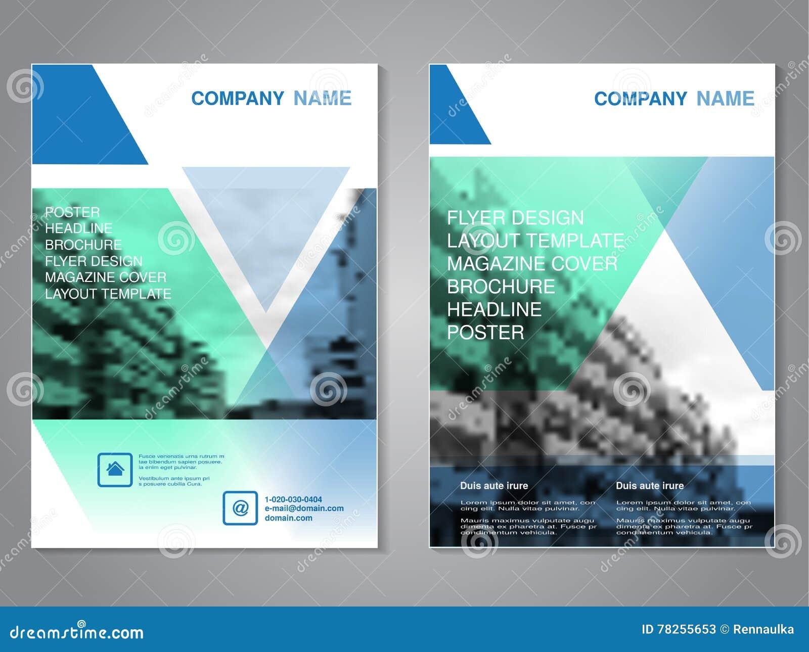 Brochure moderne avec la conception de triangle, insecte abstrait avec le fond des bâtiments monochromes Calibre de disposition A