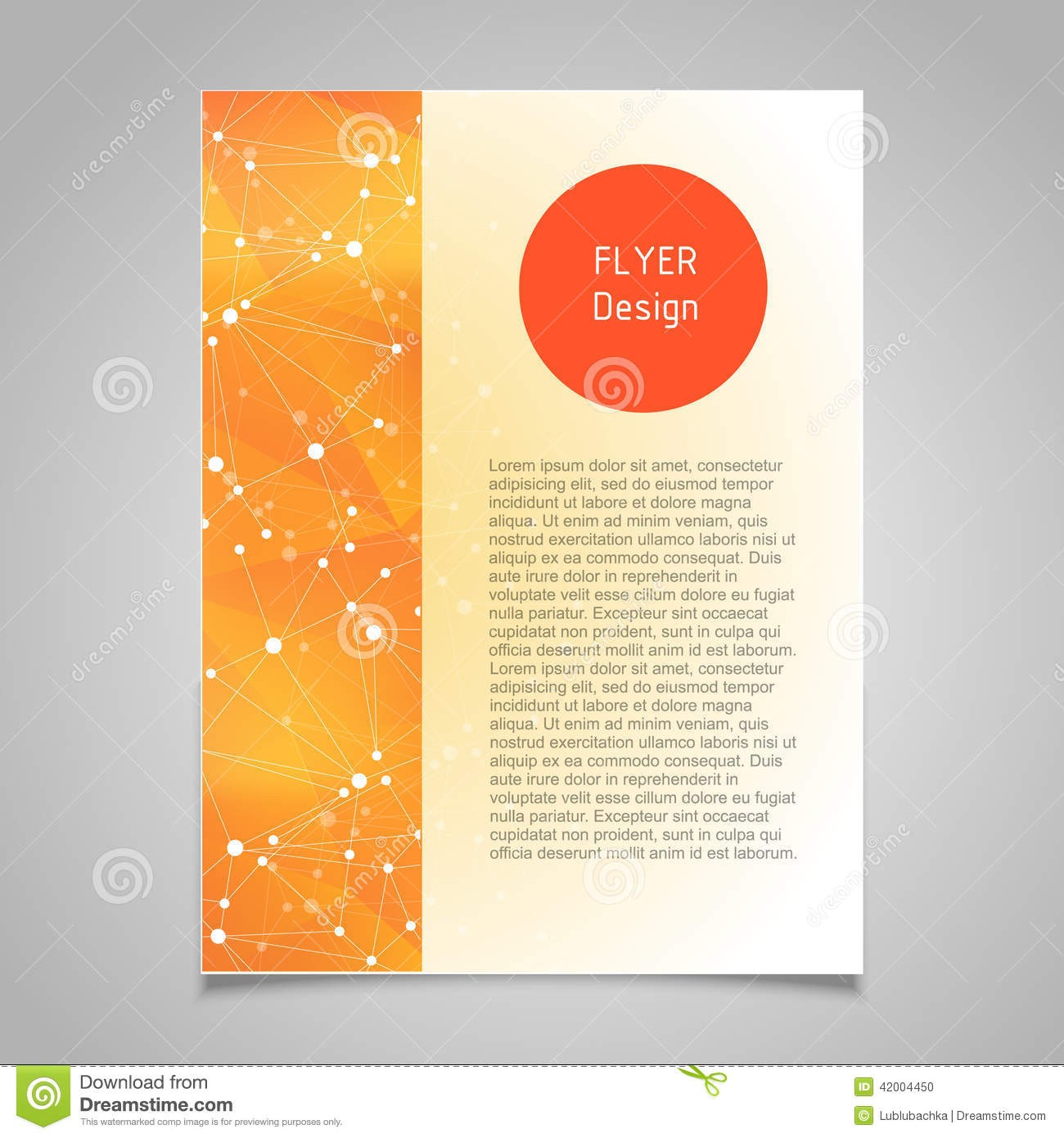 brochure page vector design template with abstract molecular
