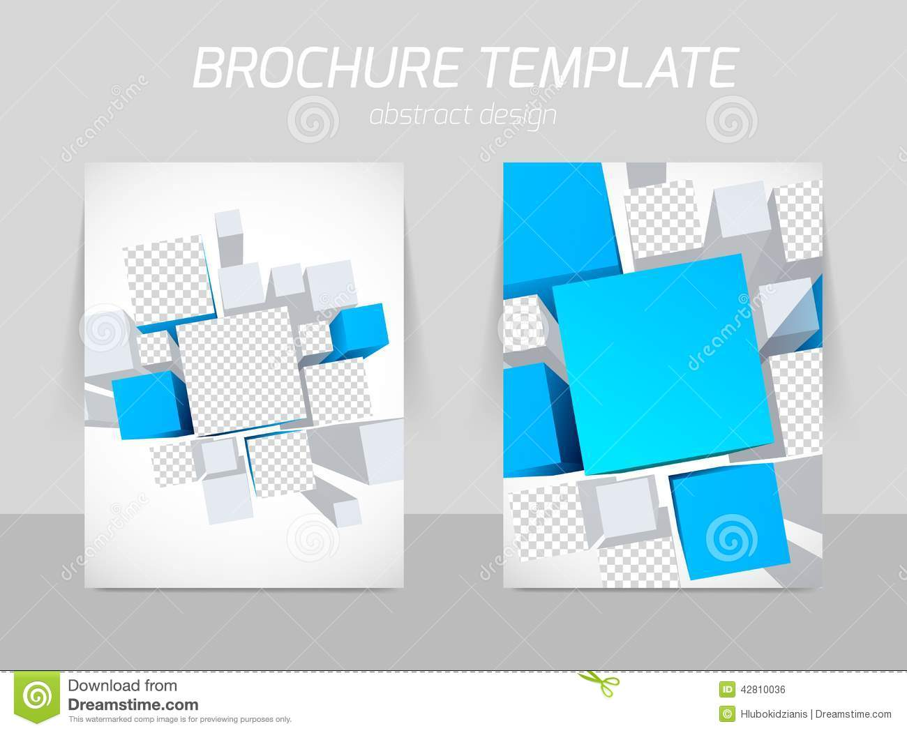 Brochure Cover Page D Cube Grey Template Stock Vector - 3d brochure template