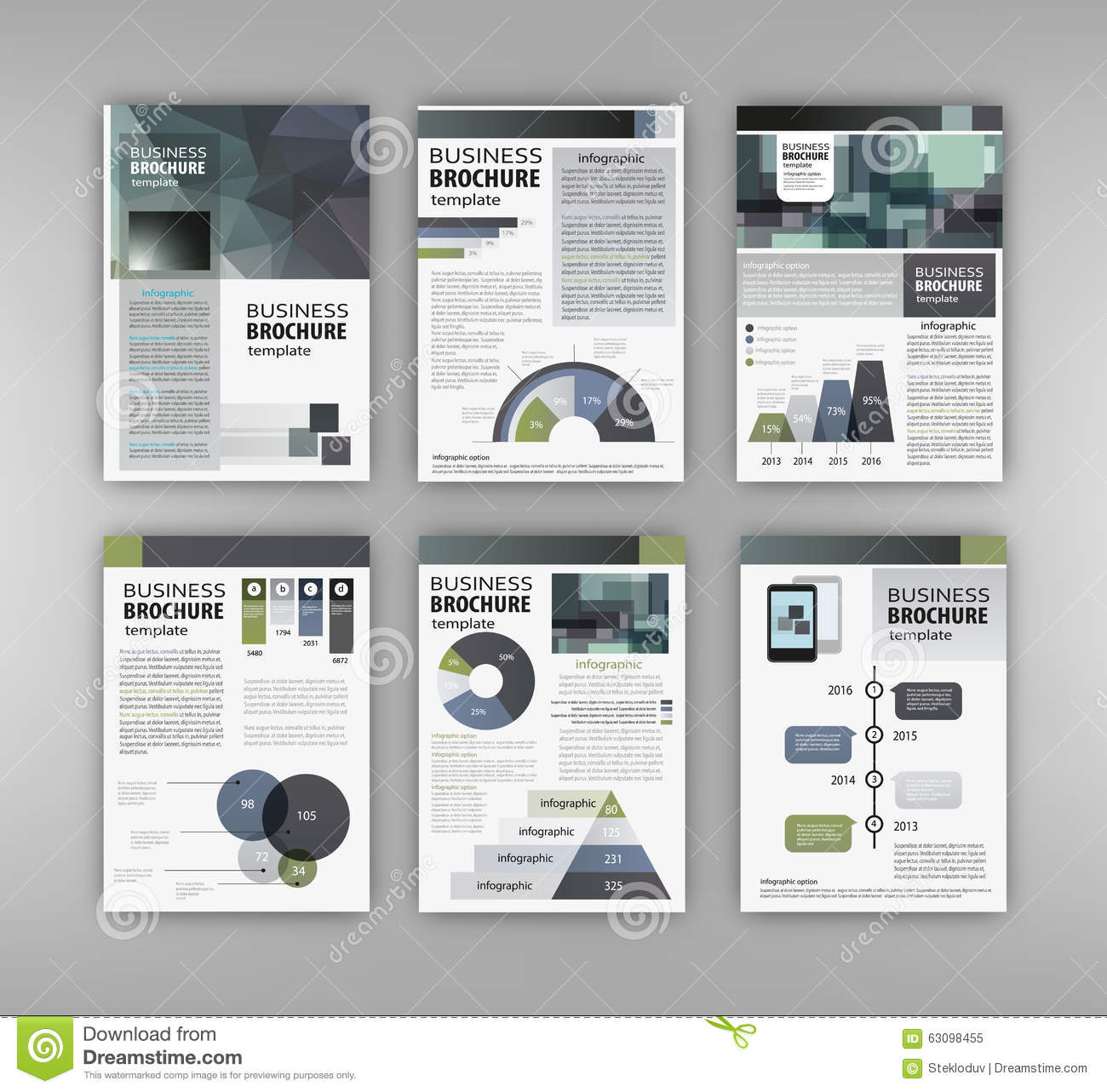 brochure template with charts and graphs stock vector illustration