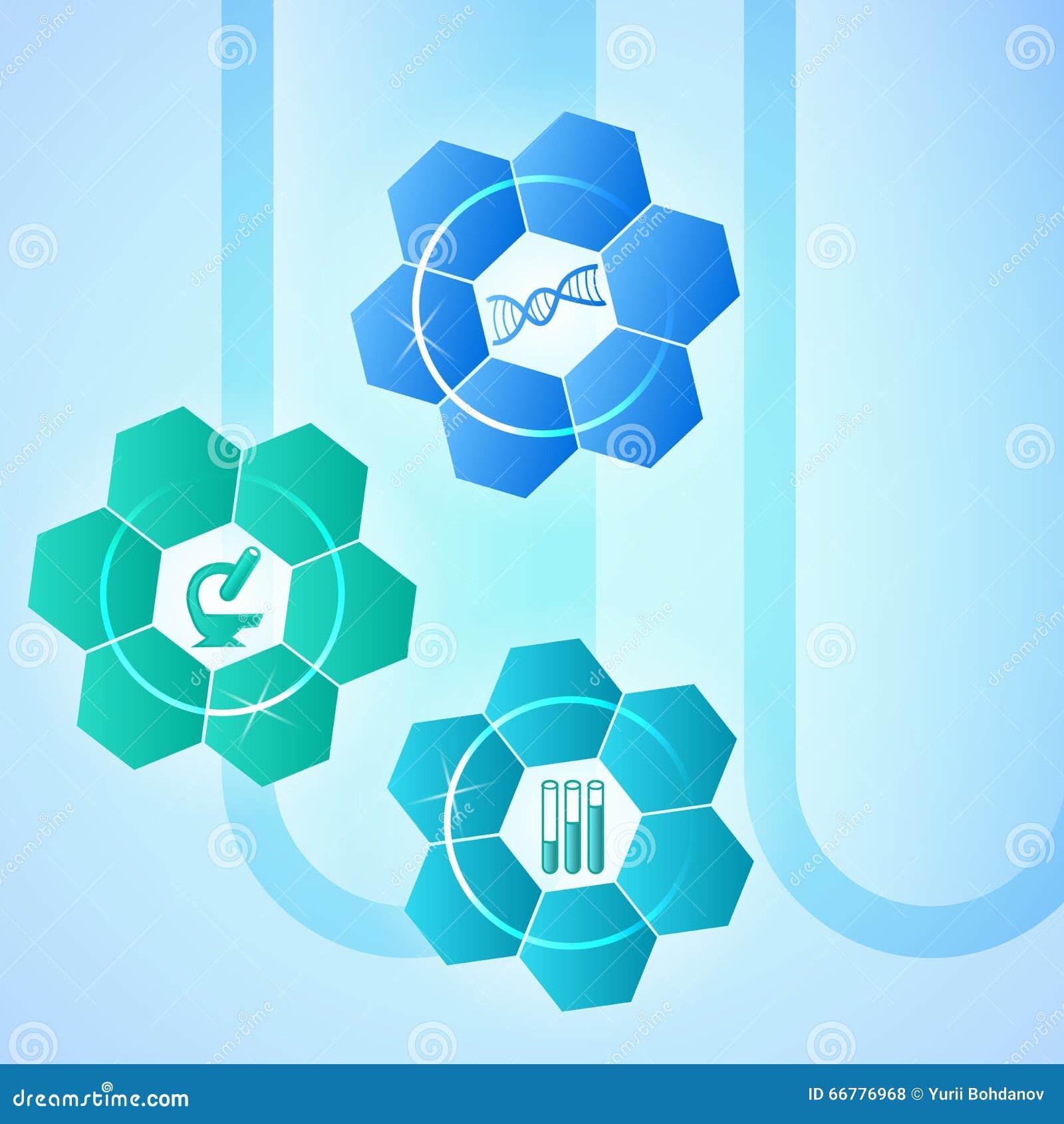 Science Laboratory Background Design: Brochure Template Concept Techno Flower Medical Laboratory