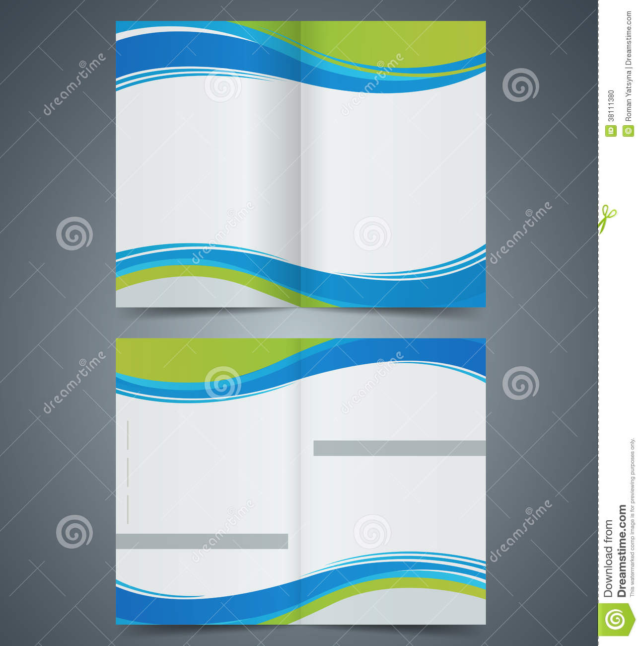 Brochure template design with green elements layo stock for Booklet brochure template
