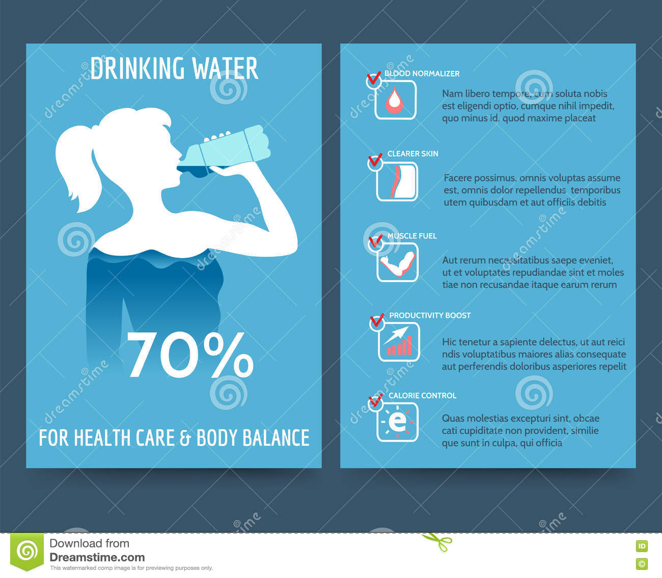Brochure template with drinking water benefit