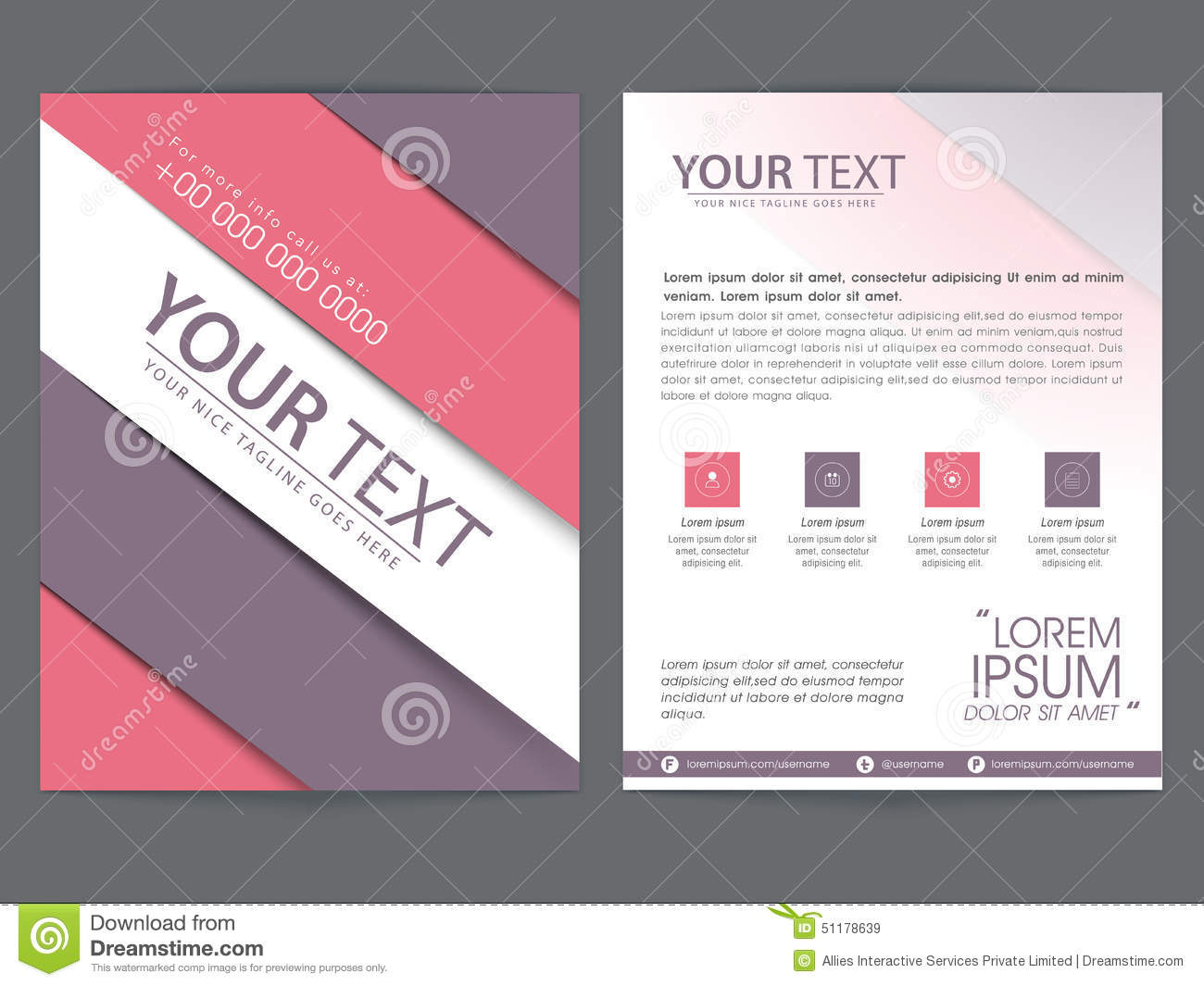 brochure template or flyer design for business stock illustration
