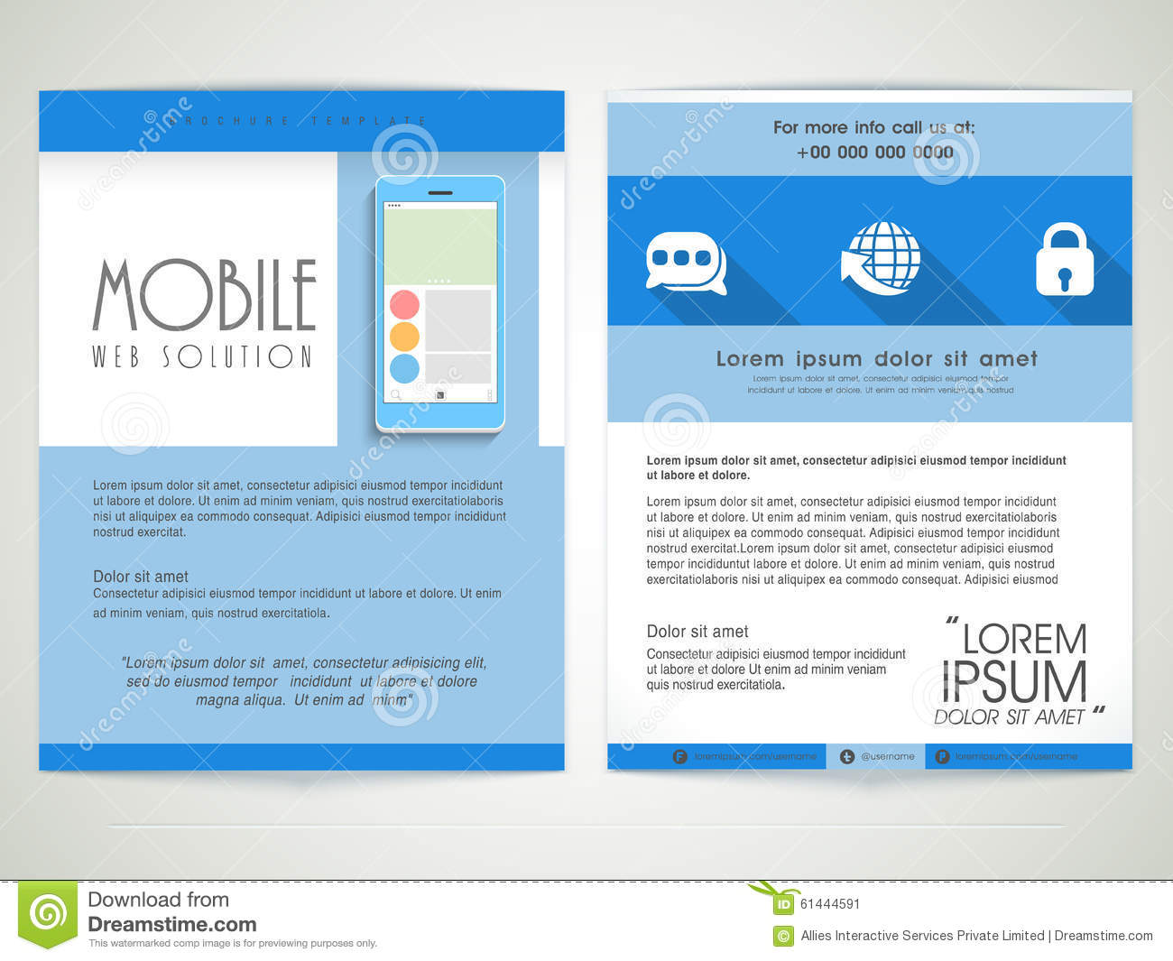 web brochure templates - brochure template or flyer for mobile web solution stock