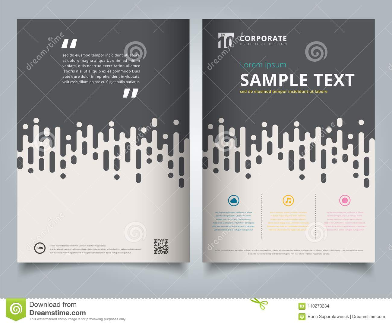 brochure template gray rounded lines halftone transition simple