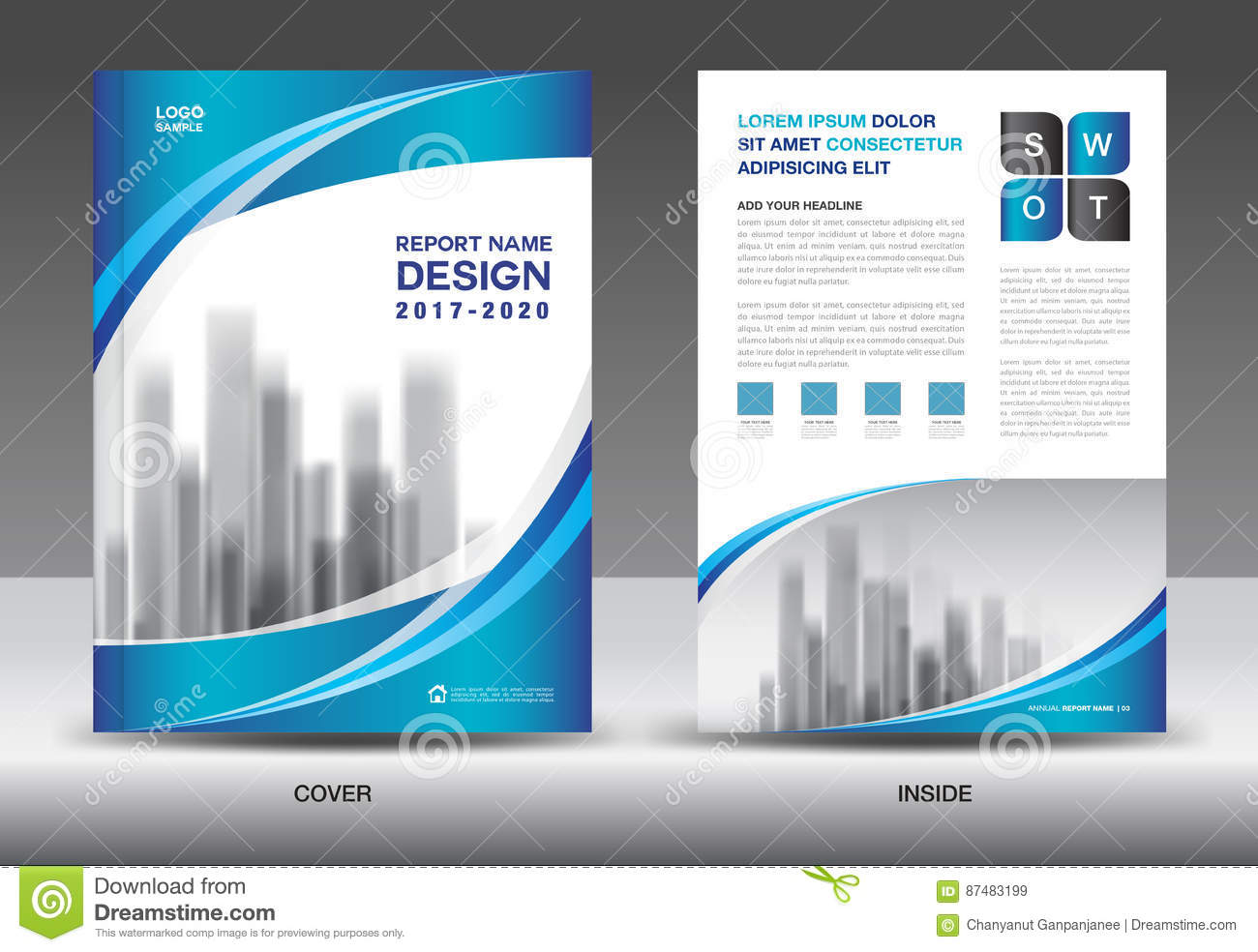 brochure template layout blue cover design annual report stock