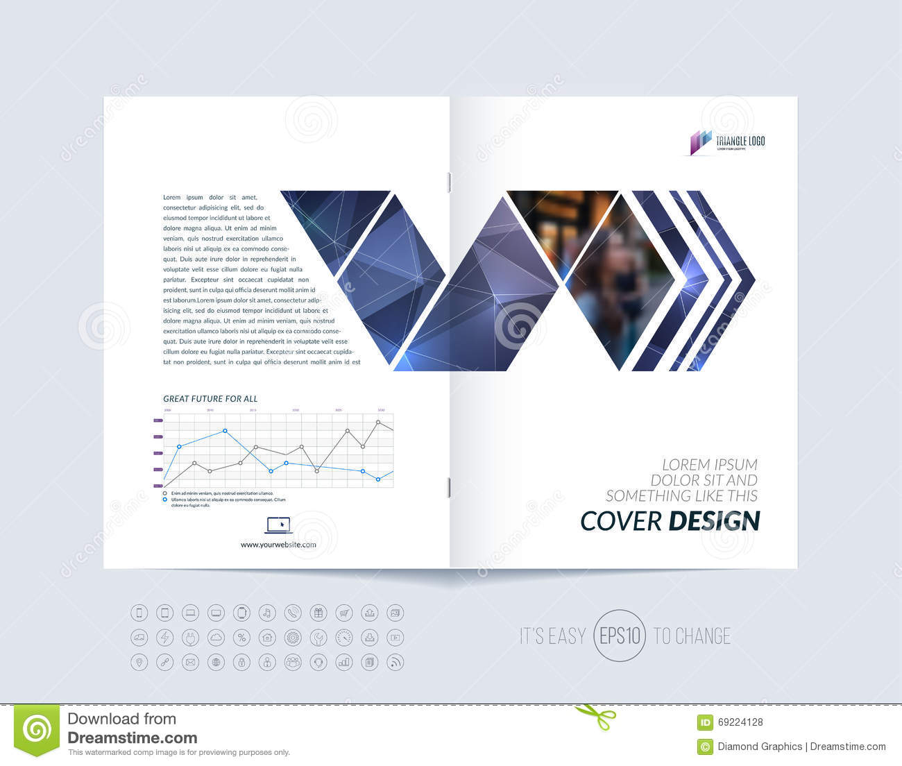 Cover design annual report magazine royalty free stock vector art - Royalty Free Vector Annual Background Blue Booklet Brochure Cover Design Flyer Geometric Layout Magazine Polygonal Report