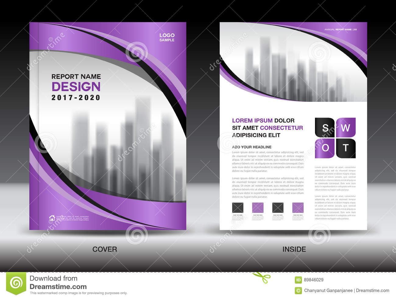 Brochure Template Layout Purple Cover Design Annual Report Stock