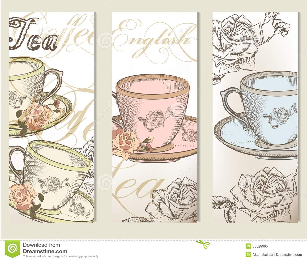 Brochure Vector Set With Vintage Cups Of Tea Royalty Free