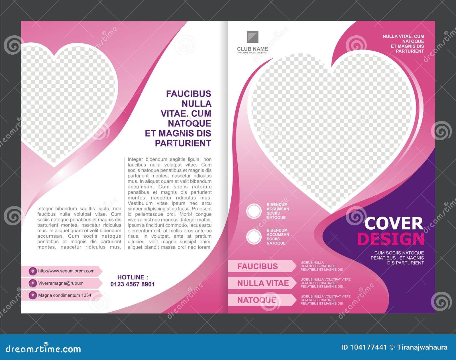 Brochure, Vlieger, Malplaatjeontwerp met Roze Kleur en liefde