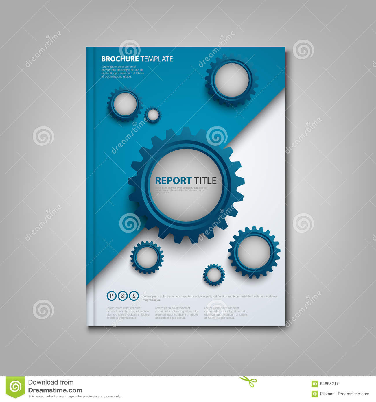 brochures book or flyer with abstract blue gears template stock