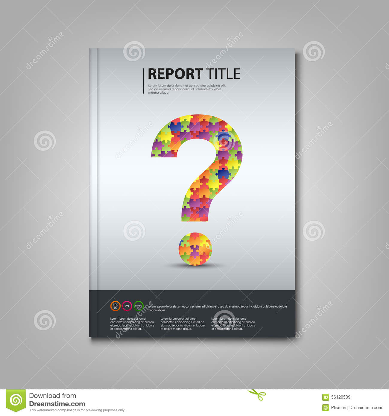 Brochures Book Or Flyer With Colored Puzzle Question Template Stock ...