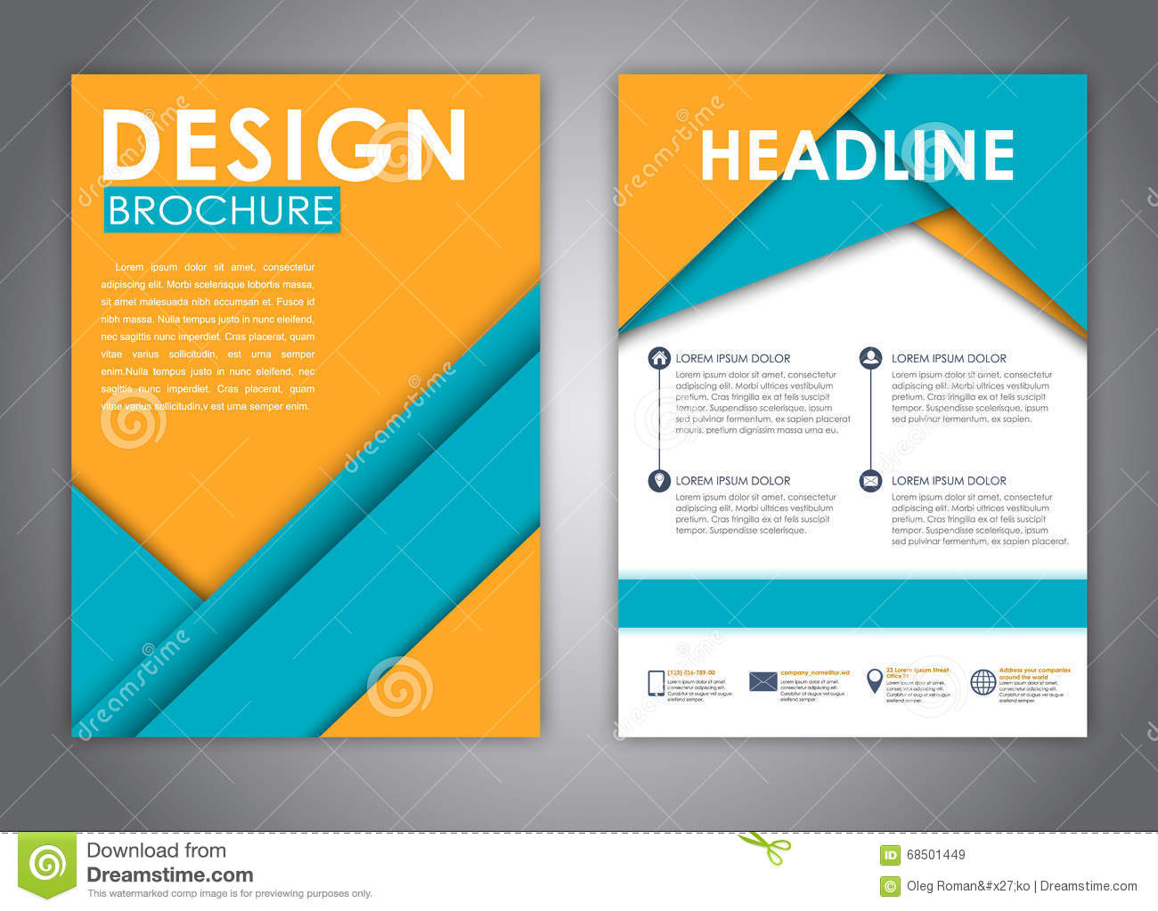 Brochures In The Style Of The Material Design Stock Vector - Image ...