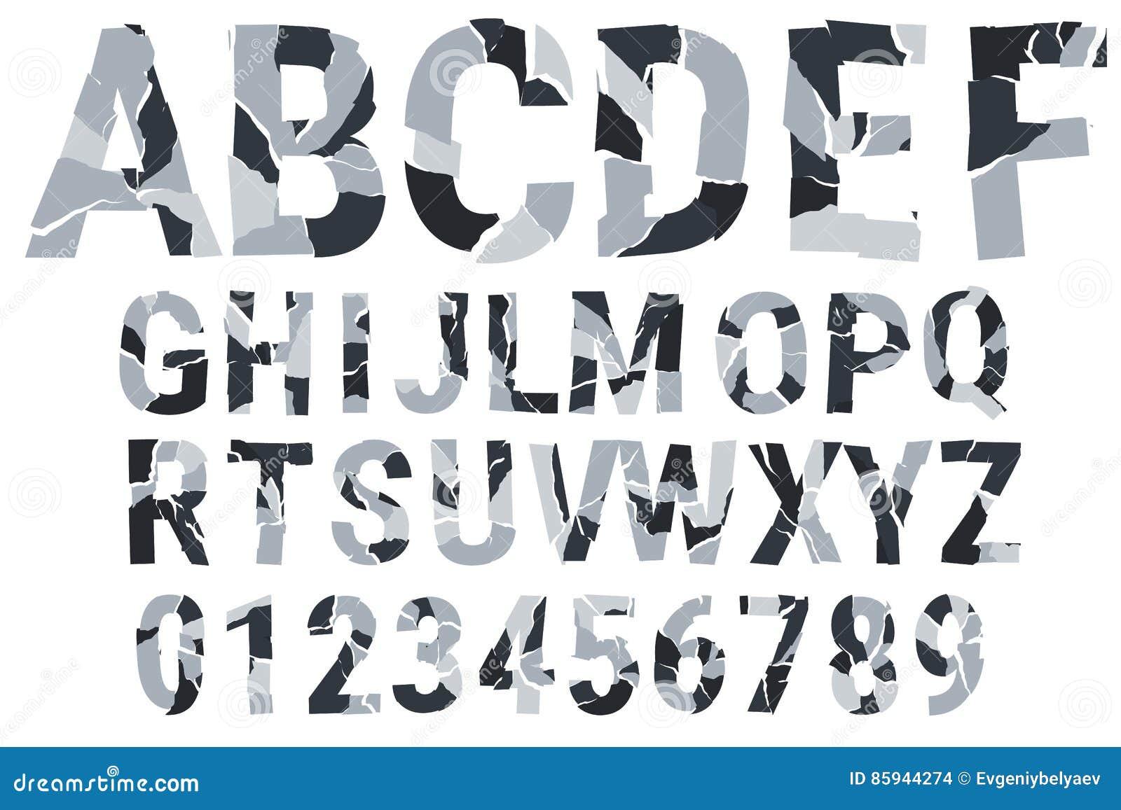 Urban Camouflage. Decorative Alphabet. A-Z