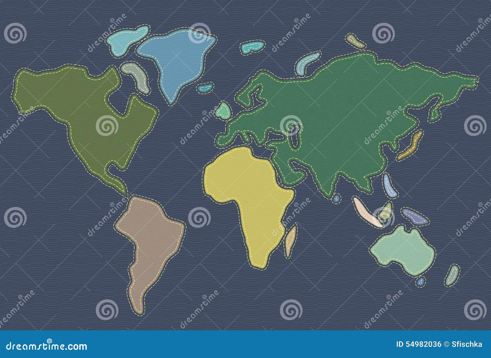 Broderad lädervärldskarta
