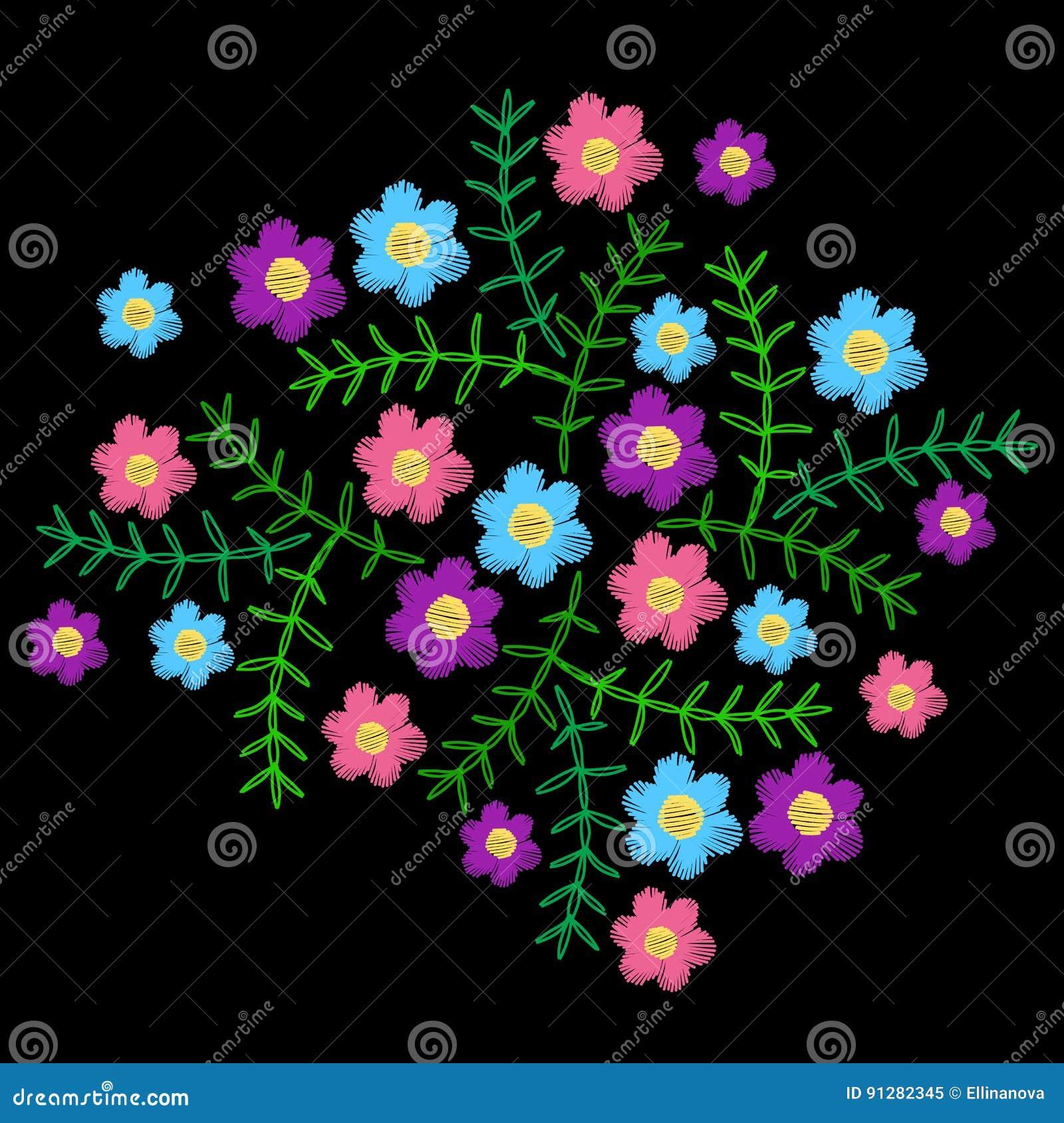 Broderi syr efterföljd med den liten färgrik blomman och gr