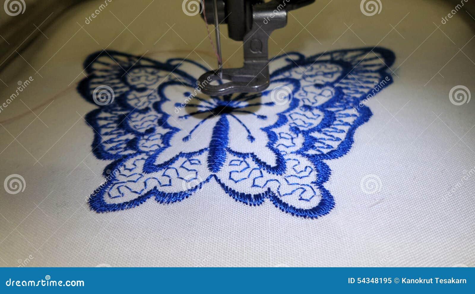 Broderie de papillon par la machine coudre photo stock for Machine a coudre 3d