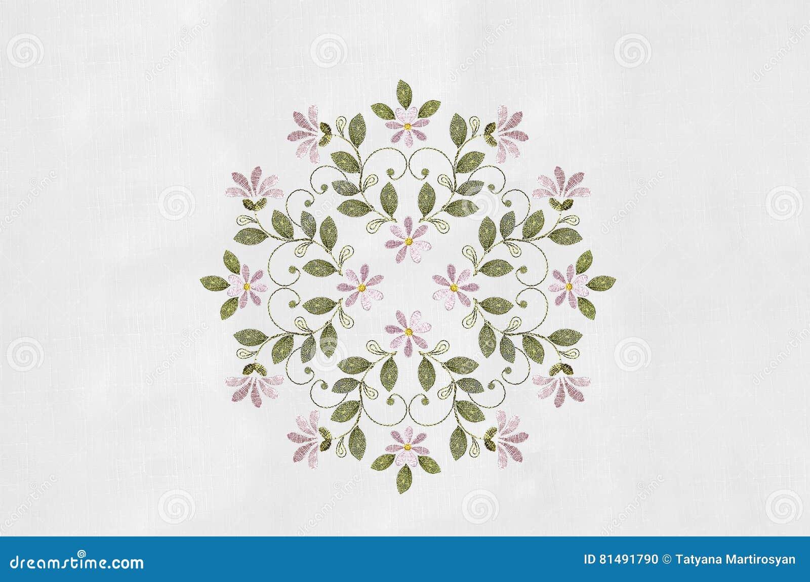 Broderie Des Bouquets Avec Les Fleurs Et Le Curlsa Roses