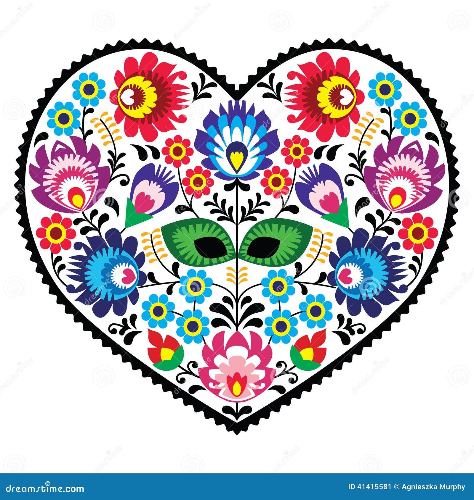 Broderie polonaise de coeur d art d art populaire avec des fleurs - lowickiee wzory