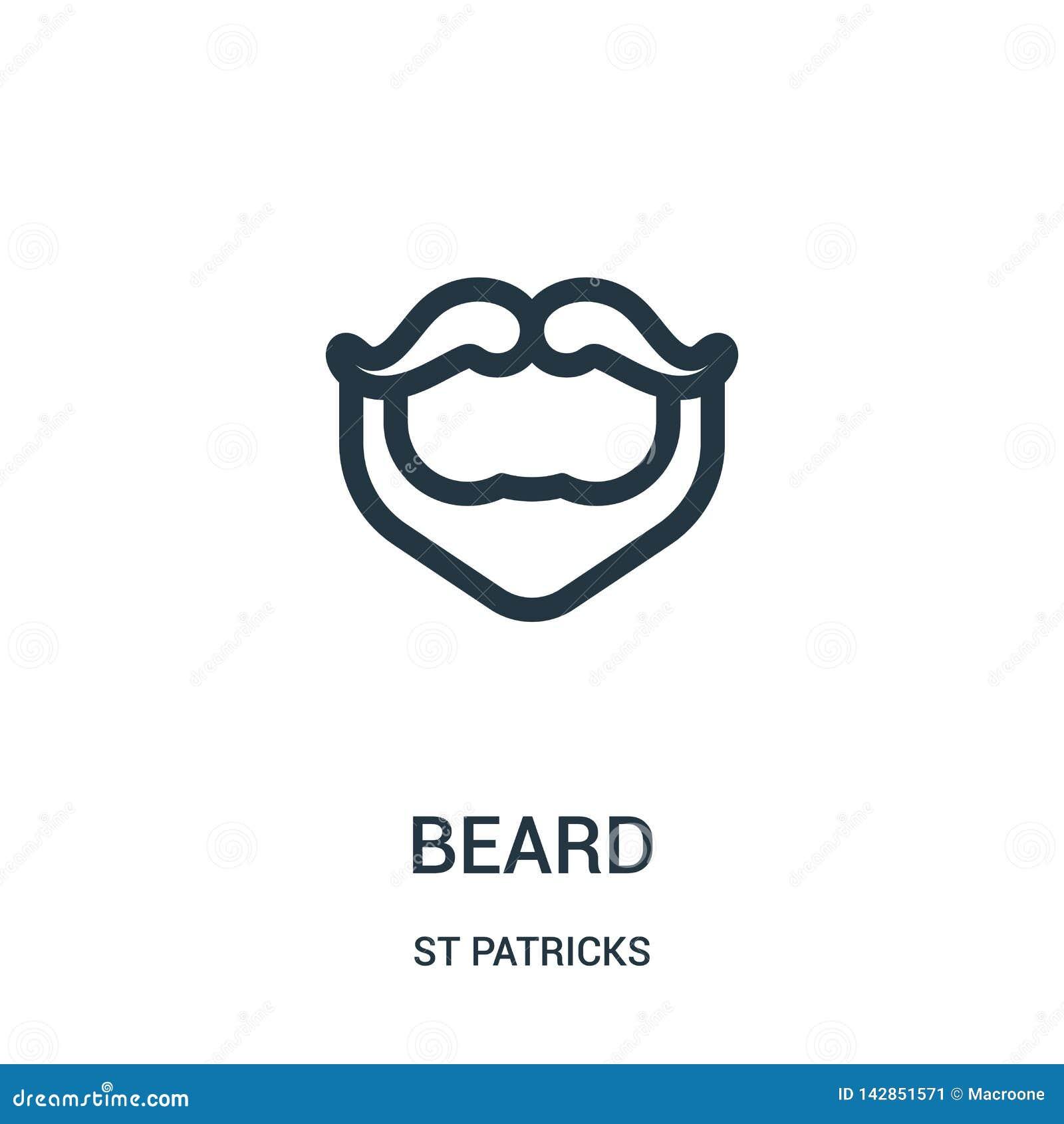 Brody ikony wektor od st patricks inkasowych Cienka kreskowa broda konturu ikony wektoru ilustracja Liniowy symbol dla używa na s