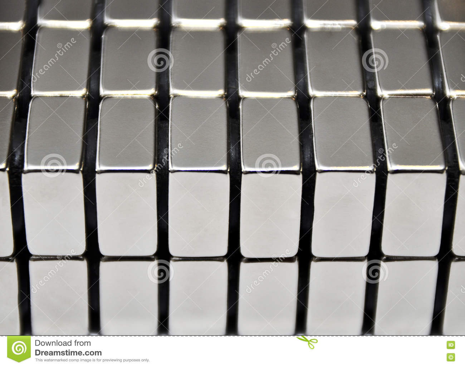 Brogujący metali talerze neodym rzadkiej ziemi magnesów 3D rendering