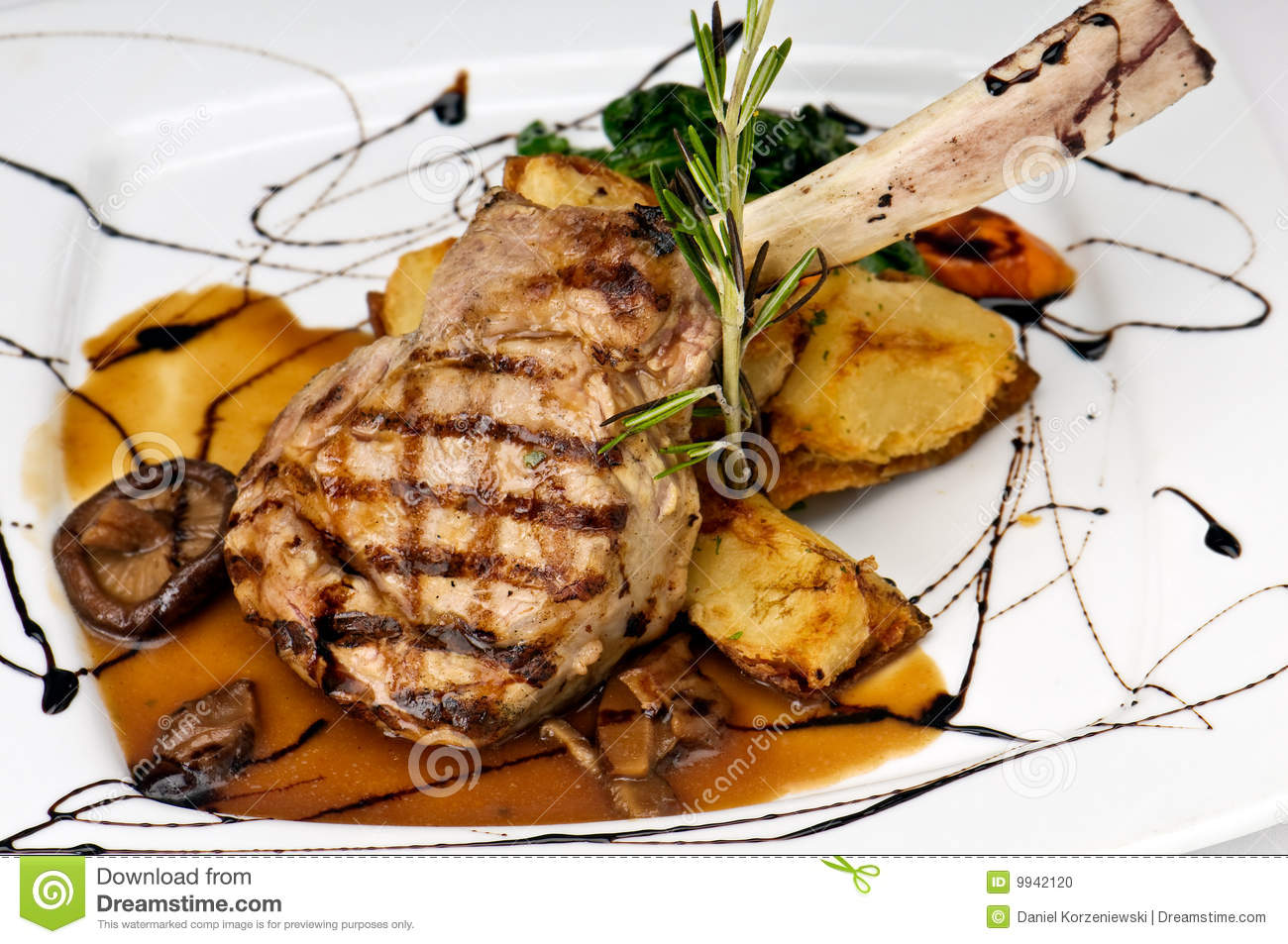 Turf N Surf >> Broiled Center Cut Veal Chop Stock Photo - Image: 9942120