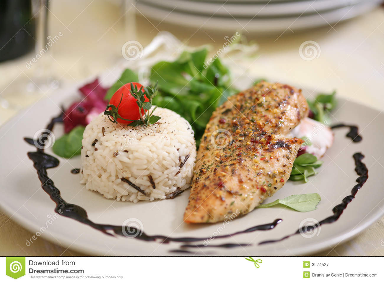 Broiled chicken breast with wild rice