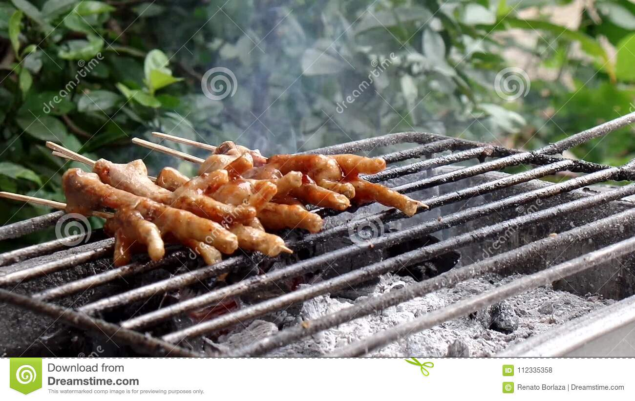 Broiling Chicken Feet On Charcoal Stock Footage Video Of Tasty