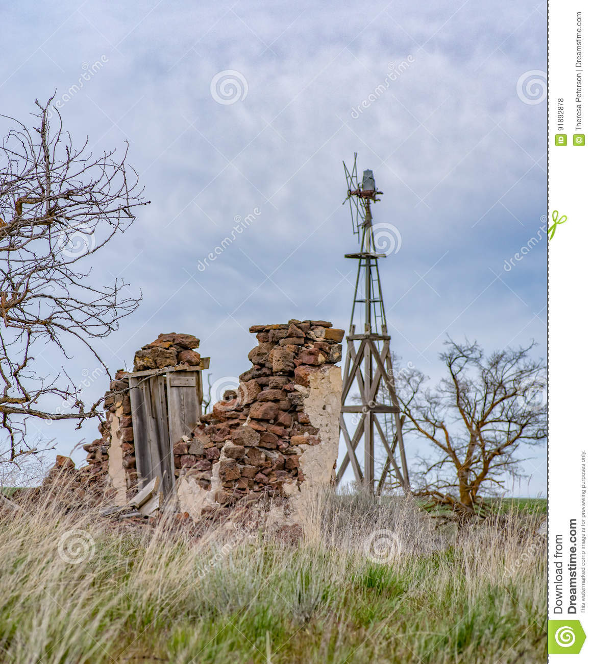 Broken And Abandoned Homestead Stock Photo