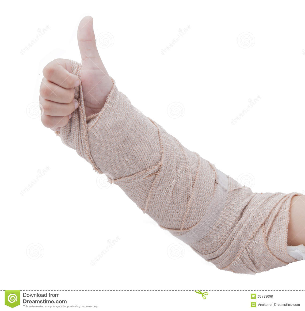 Broken arm in a cast on a white background. Fingers show the character ...