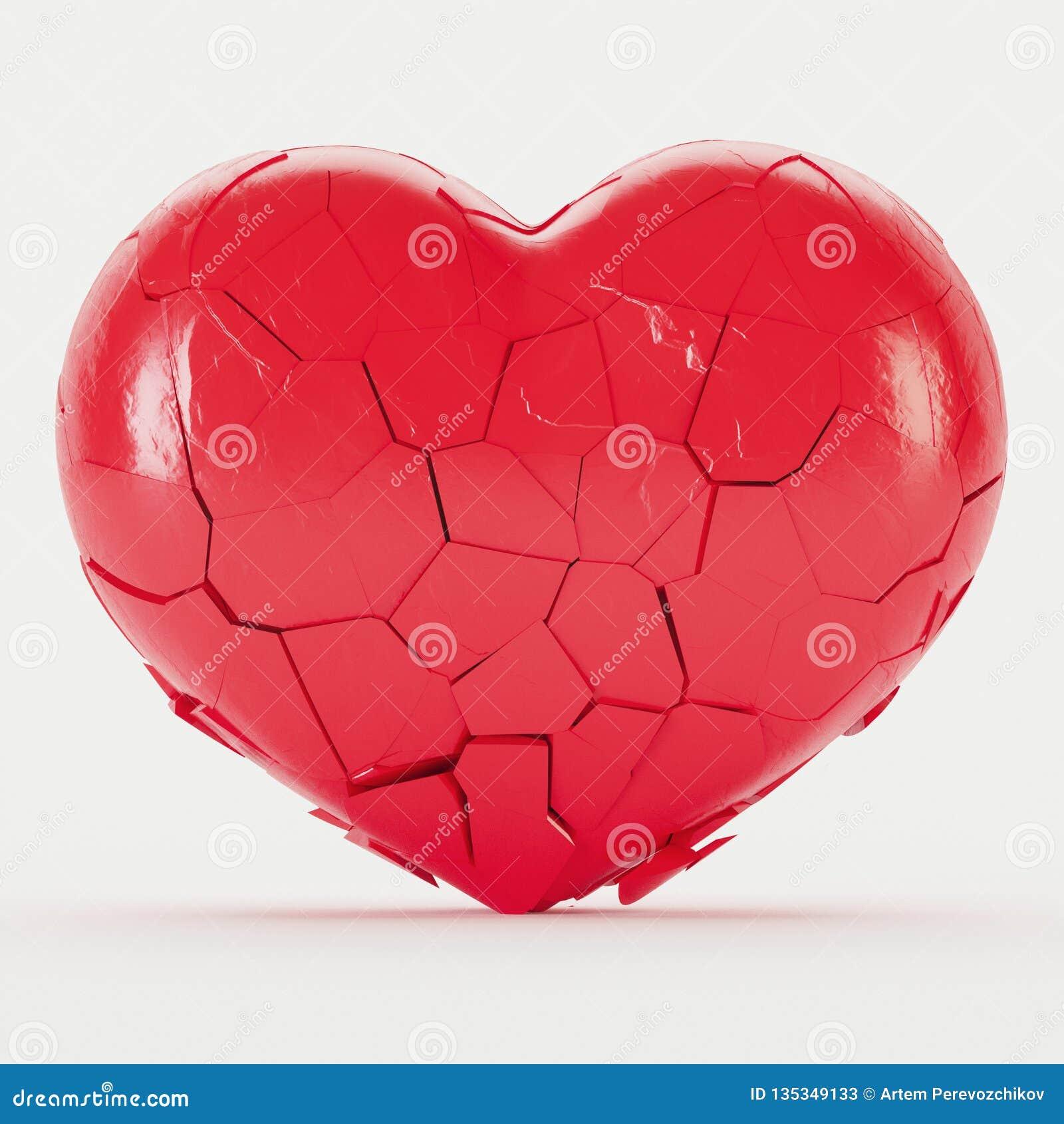 Broken Black Heart On A White Background. Stock ...