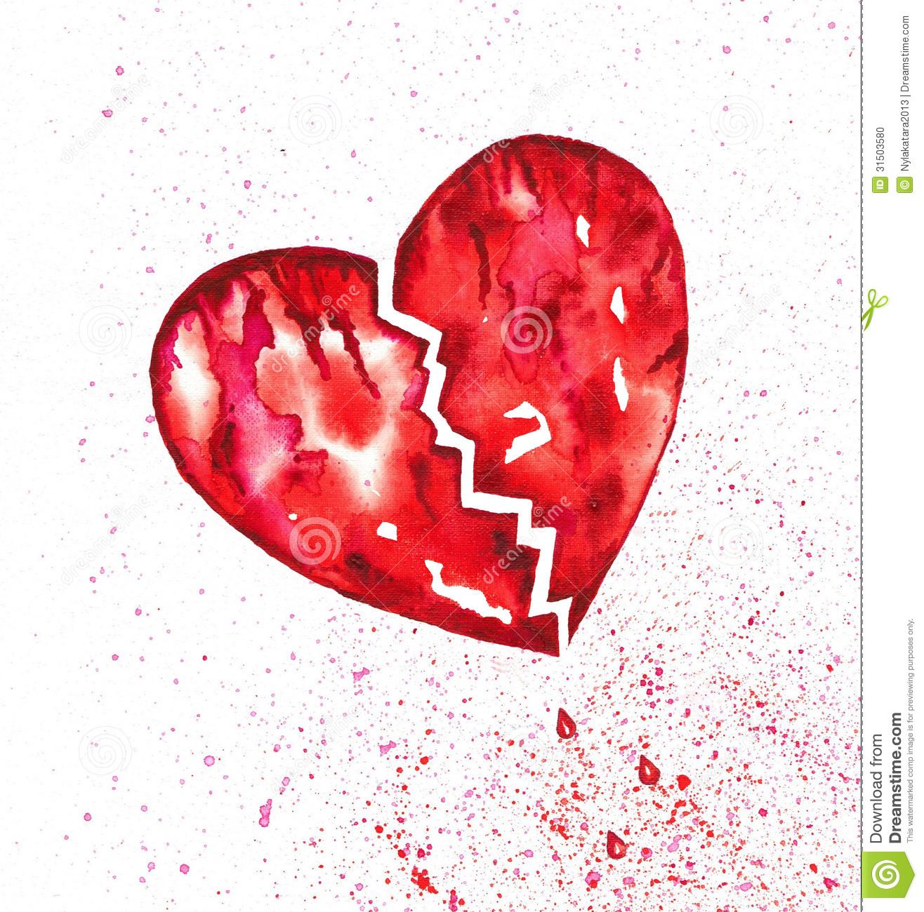 Broken Bleeding Heart With Splatter Watercolor Illustration 31503580