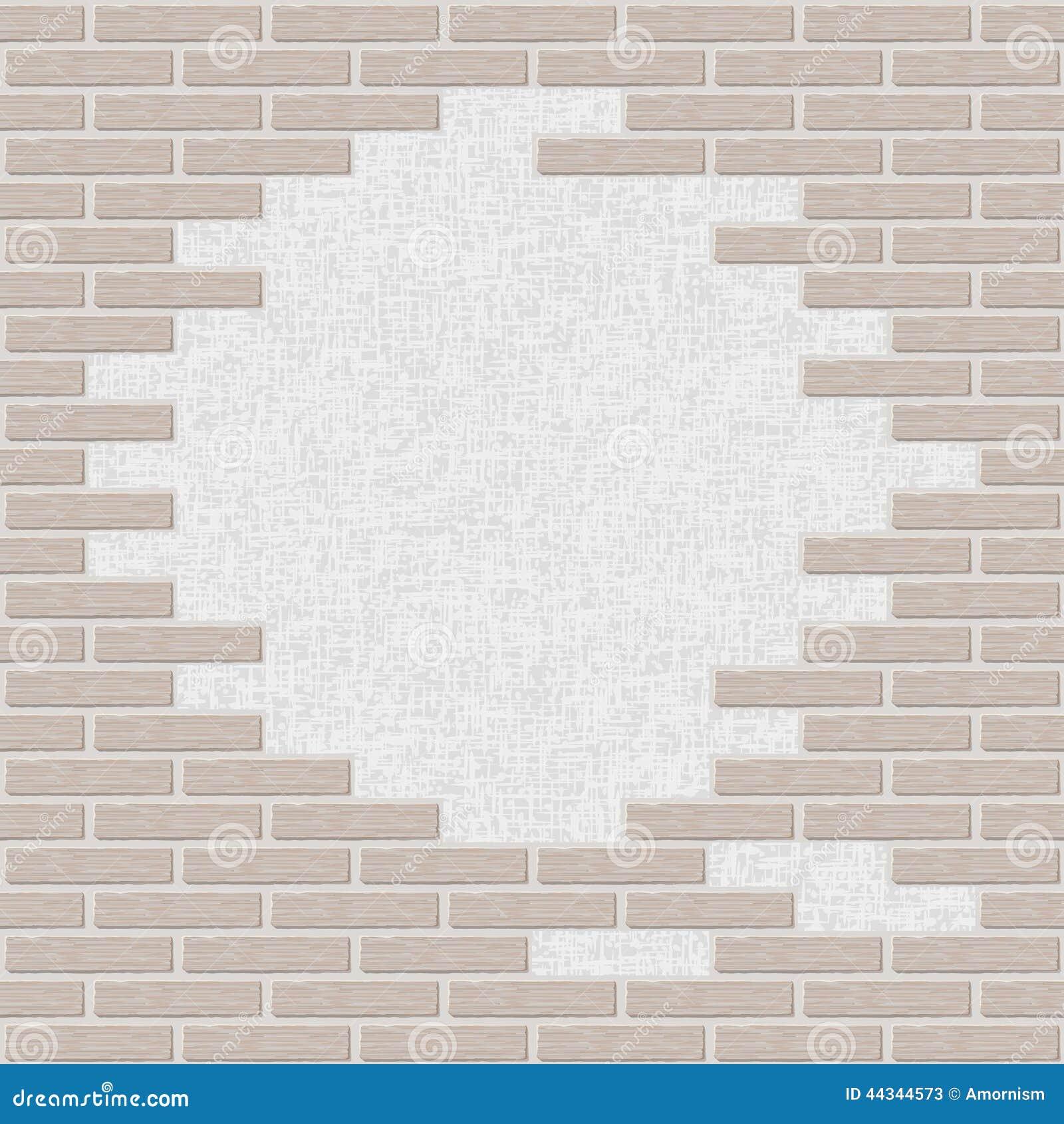 Broken Brick Wall Background Stock Vector Illustration Of