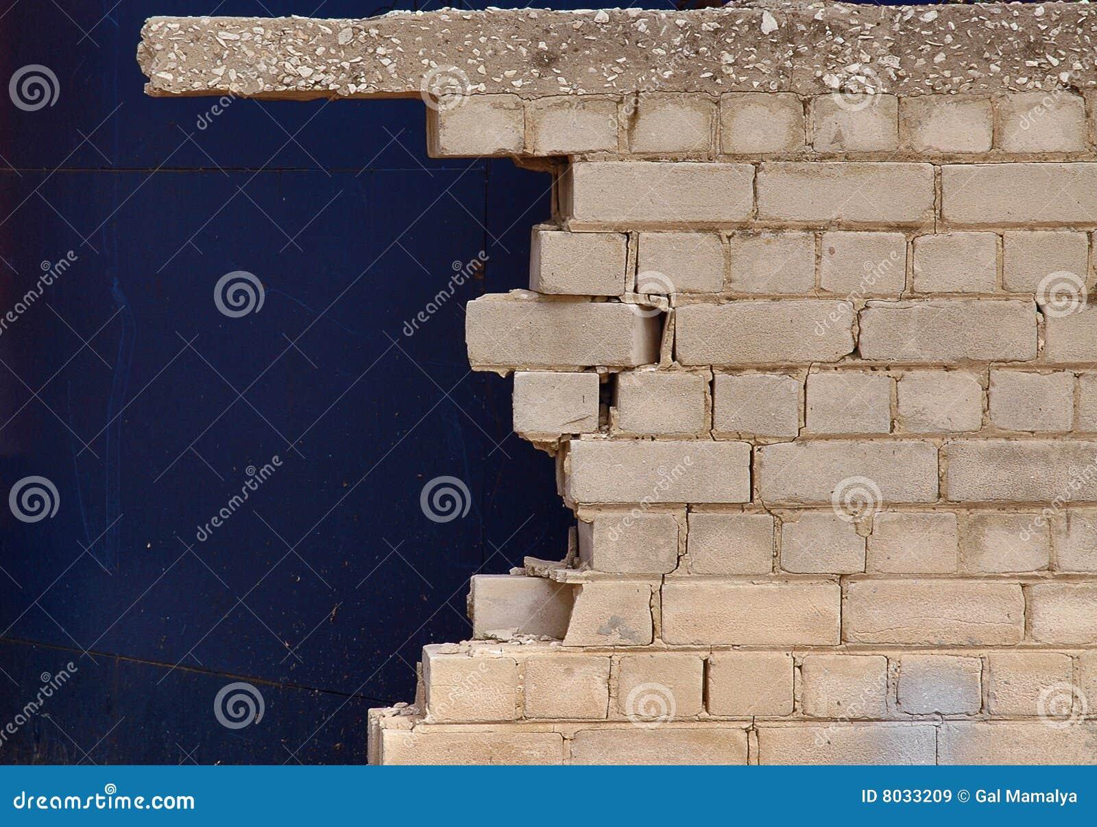 Broken brick wall close up stock image. Image of damage - 8033209