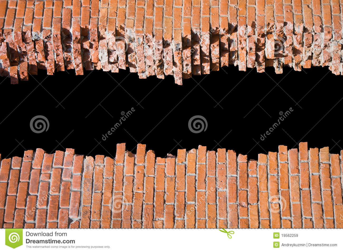 broken brick wall design template or pattern