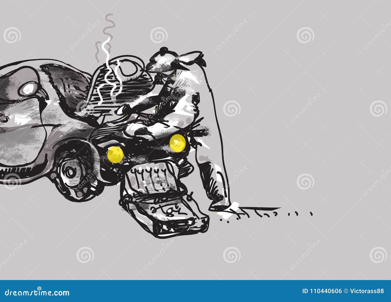 Broken Car Sketch Stock Illustrations – 50 Broken Car Sketch Stock ...